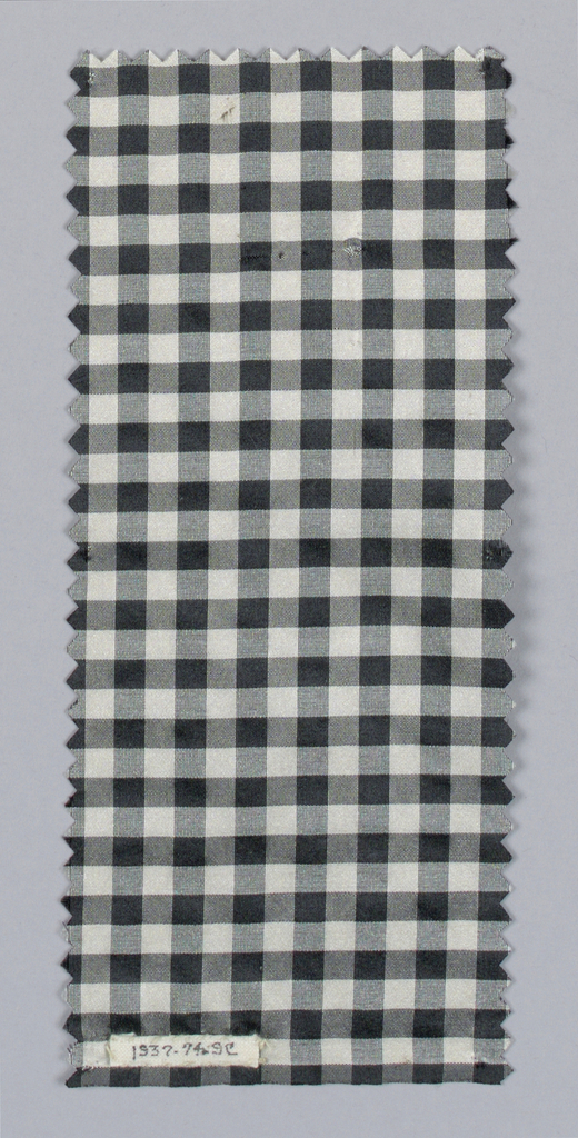 Eight samples (a-h) in black and white stripes and checks. Two samples (i, j) are polychrome plaids. One sample (k) is yellow, red and blue plaid.