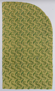 Panel of green silk velvet, cut and uncut, on yellow ground; feathered twining foliage forms and bars.