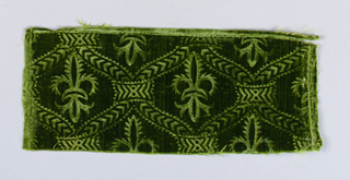 Stamped pattern of fleur-de lys within a trellis in green velvet