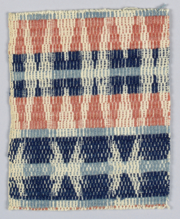 Fragment showing traditional design of combinations of various triangles and diamonds, slightly curving, in bands of rust red and two shades of blue wool on undyed cotton ground. Reversible.