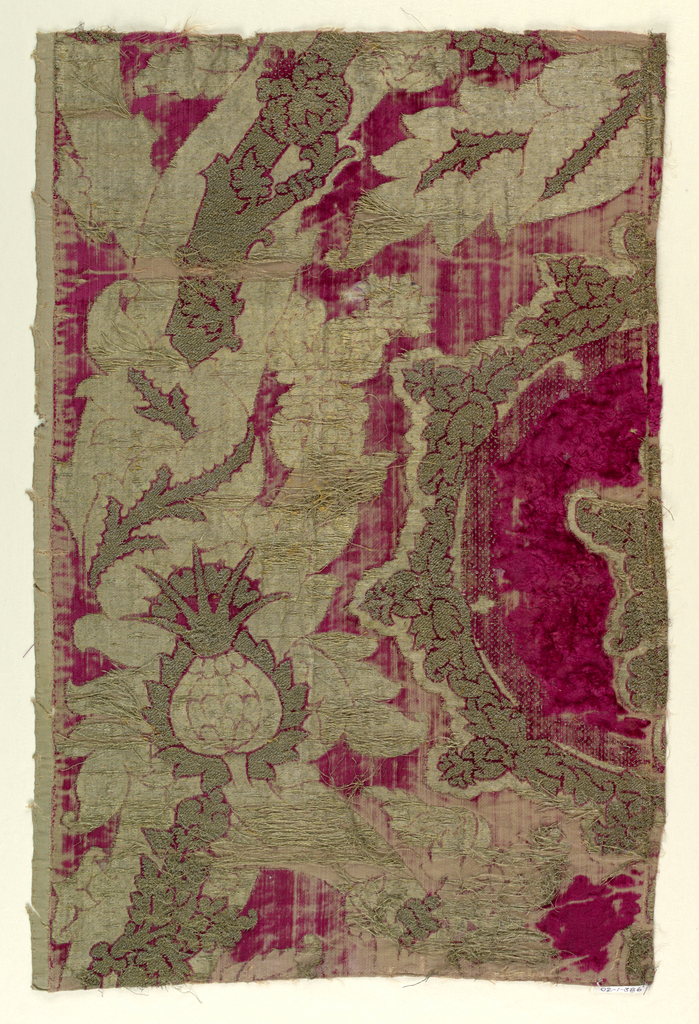 Fragment with pomegranate motif. Velvet in two heights and gold and silver threads.