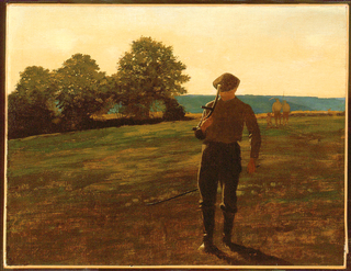 Horizontal view of a man with a scythe under his left arm in the foreground and a thinly-painted grouping of two men, with rake, pitch fork, and child in right background, all walking across a sloping meadow at dusk.  Grouping of large trees at left middleground, between the foreground meadow and wheat field, which leads to a blue range of hills in the background and a pale afterglow in the sky.