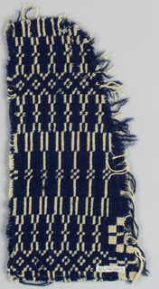 Border fragment showing traditional linear geometric border. In very dark blue indigo-dyed wool with unbleached, undyed cotton.