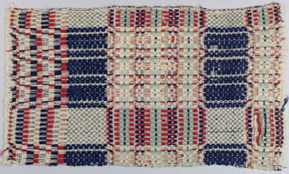 Traditional geometrical decoration with squares in broad framework with various fillings. In deep blue, bright rust, and blue-green wool pattern wefts used in bands of these colors on undyed cotton ground.