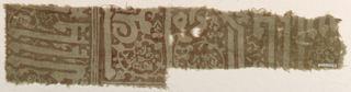 Unbleached plain weave cotton resist-printed in red, now faded to brown.  Series of vertical bands with pattern reserved in ground color.  Furthest left, large Kufic letters; following, remains of a vine patterns; following, another vine pattern; far right, what may be a portion of inscription.