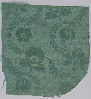 Green silk with a diaper ground and horizontal rows of flowers and fruit on curving stems with tiny leaves. Alternate horizontal rows turn left and right.