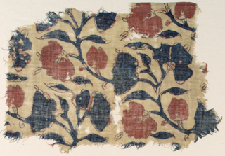Fragment of tightly spun, loosely woven cotton plain weave with flowering boughs drawn in aubergine and crudely colored with red and deep blue.