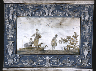 Landscape showing a stream with rocks, trees, grass and a bridge; two women fishing, one wading in the stream. In a border of blue satin with urns, vines, birds in oval medallions, scrolls, etc.