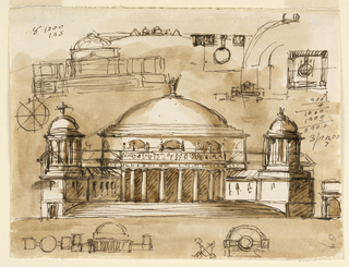Horizontal rectangle. Most of the sketches deal with the central structure. Its general shape is now influnced by the Pantheon with lateral wings. In the central design, the elevation is shown. It was first drawn with four low oblique wings, flanking the stairways to the proticoes and having domes over their front parts. Then the motif has changed into wings of a greater height without domes. Most designs deal with lateral wings situated in teh same horizontal plane as teh central building. the elevation with the flanking pyramids is shown in teh cetner top, tht of a bay of the colonnades beside the main design. Colored background.