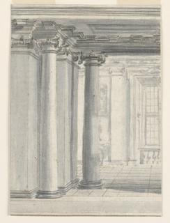 Drawing, Painted decoration: view into a gallery, ca. 1730