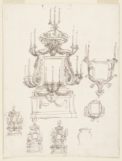 Four entire elevations are shown, three of which include pairs of angels. All provide for a mensa-like dado and for a crown topped by candles on top. Three designs are concerned with a framing of the painting by candle brackets; one of them in hardly begun.