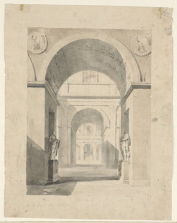 Horizontal rectangle. View into palace courts through archways. Two sculptured figures in foreground. Unfinished.
