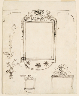 Vertical rectangle. Above is the elevation of the frame, whose upper part continues above as bands. Moldings form an inner oblong frame. On top of it are the upper parts of two cornucopias and the blowing head. The outer frame serves as a backdrop for them. It is convex below with three stars. At left are a plant and a plant springing from a fleur-de-lys. Below at left a rough sketch of the decoration with plants laterally, and without cornucopias, and at right the upper part of the inner frame with the bend above cornucopias which lie upon the upper rim.