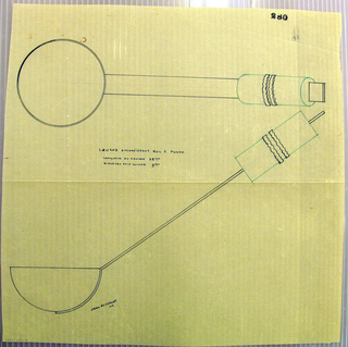 Ladle drawn in plan and elevation. Round bowl attached to a long rectangular stem which continues through a cylindrical handle indicated in green ink decorated with two applied wavy bands. Underdrawing in graphite of ladle in golden section.