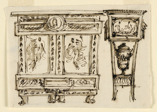 Drawing, Cabinet and pedestal