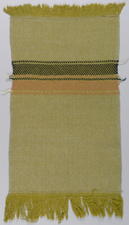 Scarf end of loosely woven plain weave with yellow-green warps forming warp fringe at each end; pale blue-gray weft except for group of twill stripes in black and coral.
