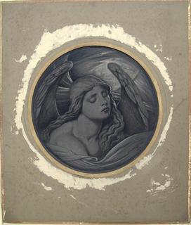 Circular composition. Figure of a winged woman, turned toward the right. Her wings rise behind her, framing her head. Signed and dated in lower right hand corner.