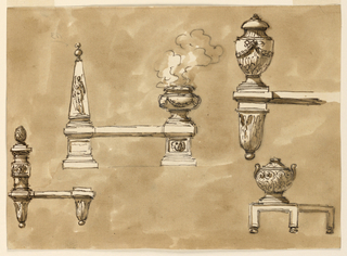 Drawing, Fireplace fenders