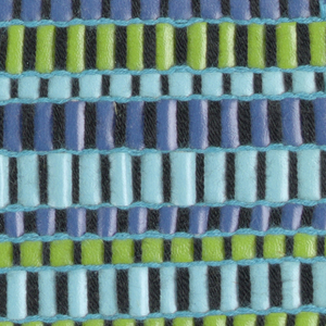 Horizontal bands of green and shades of blue with black.