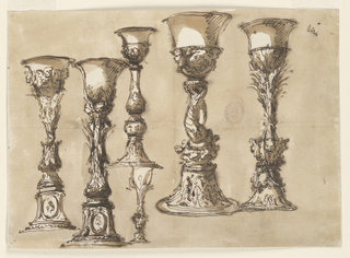 Five large and one small designs for a chalice. All have a flaring, undecorated lip. The two at far left have oval medallions at the base. Ink wash ground.