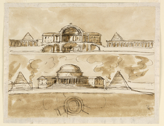 Drawing, Three mausoleums