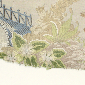 Incomplete fragment of ribbed silk with a light beige ground brocaded in shades of caramel, beige, red, green and blue. Design shows pagoda, bridge, large palm in chinoiserie style. Both selvages present.