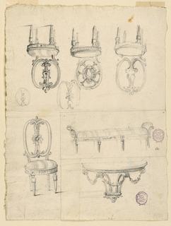 Page divided into four sections. At top, three chairs with round seats and turned legs. At lower left, a chair with striped seat upholstery. At bottom right: a bench with striped upholstery and a demi lune console table decorated with swags.