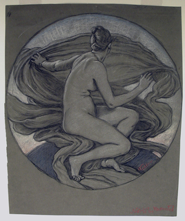 "Figure of a girl, nude, seated turned toward the right. Her head is turned away from the viewer. Drapery swirls behind the figure, with the rays of morning light rising beyond it. Signed lower right: ""Vedder."" Reverse: Nude torso of girl, with arms raised above her head."
