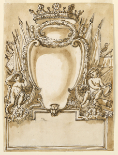 Vertical rectangle. Below is a rectangularly framed tablet, rising in the center, with a mask in front. Upon it stands an escutcheon with on top a wreath with an inversed shell and a crown. Above, laterally, are the upper parts of weapons, below two putti sitting upon cornucopias, the left one with a helmet, the right one with a scale. Usual background.