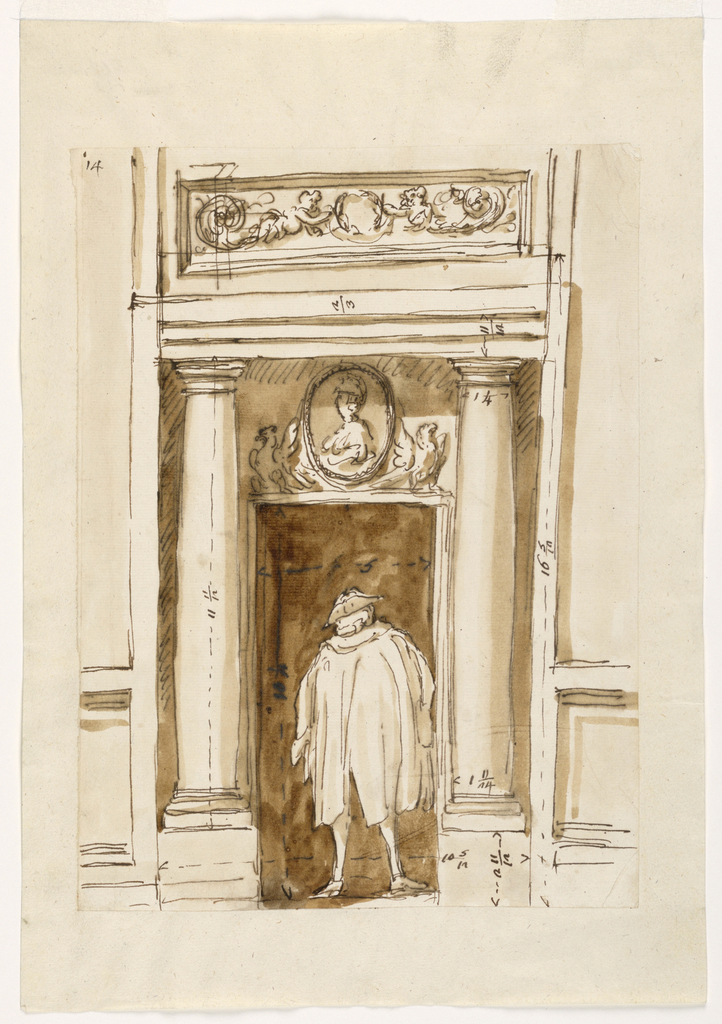 In a doorway flanked by columns stands a man in heavy dress. Above doorway, a bust in relief. Notations visible in ink.