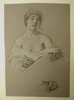 "A woman, lightly draped, faces the viewer while writing on a large tablet. Below: detail of one hand grasping the tablet. Signed and inscribed in pencil, lower right: ""Study / for / Muse of U.S.A. / History / E. Vedder.."""