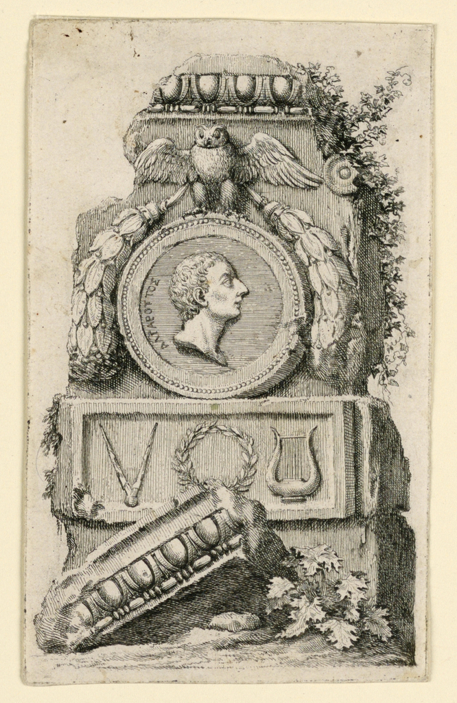 Portrait to right; behind the head is printed 10-letter word in Greek alphabet.  Under the medallioin is a relief showing a compass, a wreath, and a lyre.