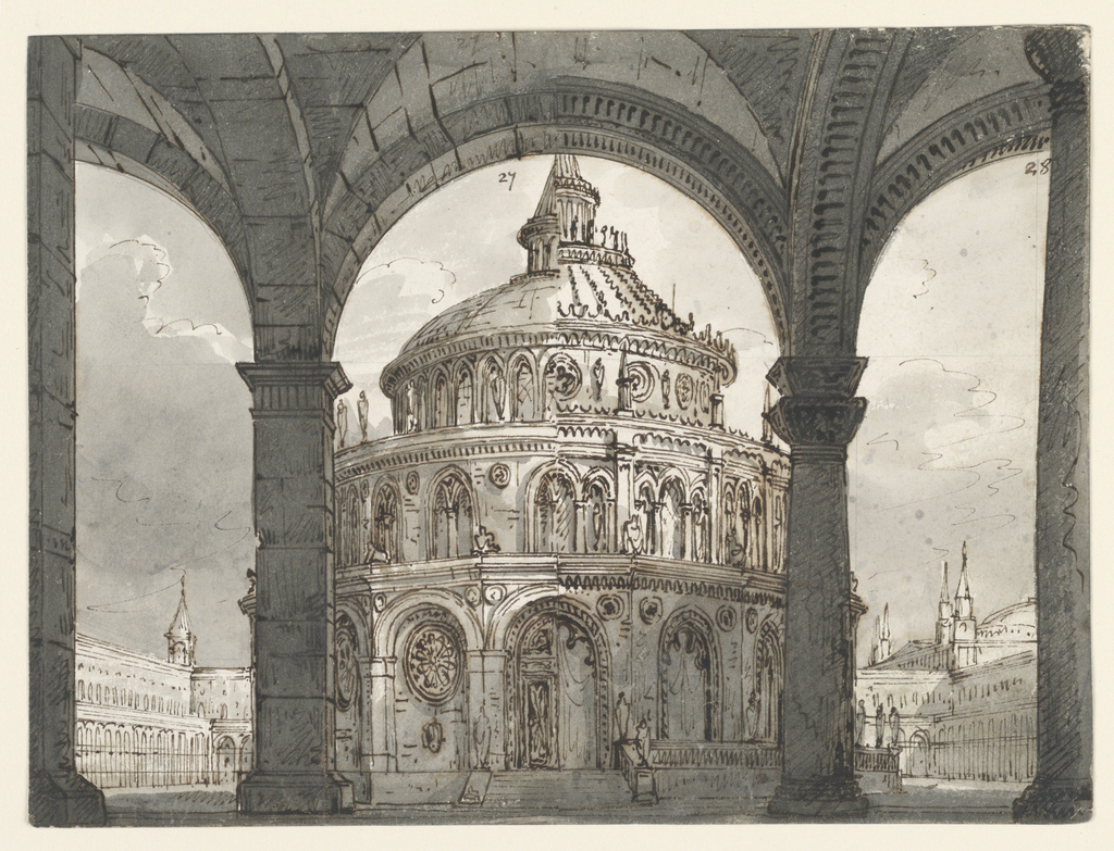 "Drawing, Stage Design, Atrium with the Temple of the Hospitallers for the Opera ""La Straniera"" by Vincenzo Bellini"