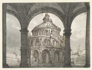 Horizontal rectangle. View through three arches of colonnade on Gothic circular building in two versions in the court of an enormous palace.