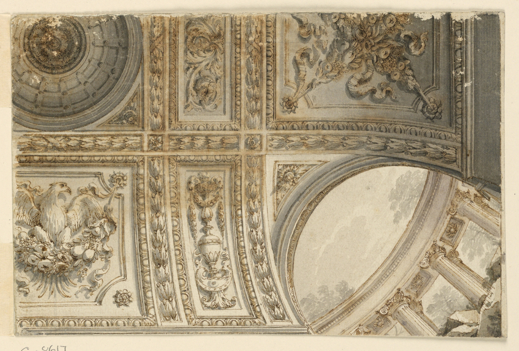 Design for a ceiling.  More than one quarter of a ceiling is shown, viewed from below.  It is a view of a slightly vaulted ceiling with arches at the corners (one arch shown, at the lower left corner).  Visible through the arch is a view of a classical colonnade in ruins.  Decorated beams frame the panels.  A cupola is in the central panel.  In the panels adjacent to the arches are two festoons, crossing each other at the short sides; a candelabrum at the long sides.  In the central panel at the long sides (upper left corner of the sheet) stands a displayed eagle upon a festoon.