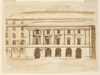 Drawing, Elevation of a palace with extending blind portico
