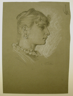 "Vertical rectangle. Head of a young woman facing right in profile. Signed in pencil, lower right: ""E. Vedder."" Inscribed lower left: ""Rosina."""