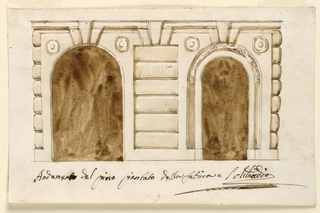 "Two arched door openings, the right of which is narrower and more elaborately decorated than the left one. Caption: ""Andamento dei primo piantato della fabrica a….(?)."""