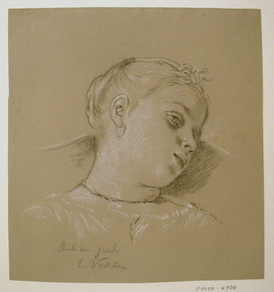 "vertical rectangle. View of the head of a girl, turned toward the right. Inscribed and signed: ""Italian girl / E. Vedder."""