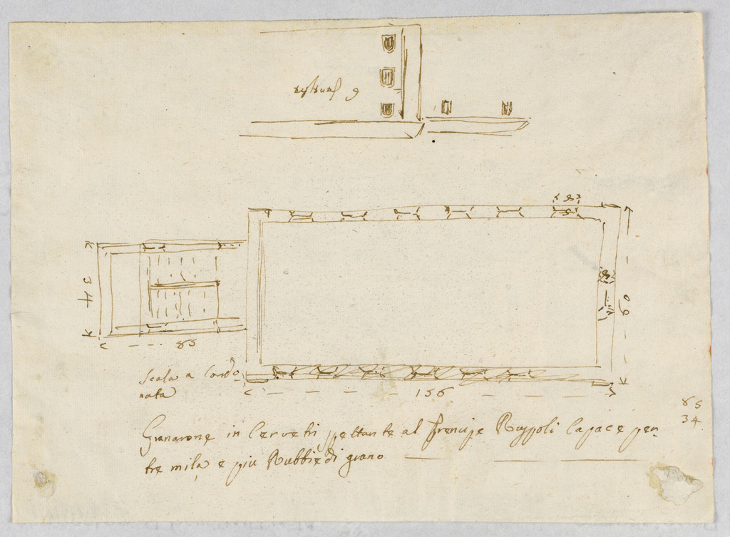 "Shown are the plan and, in opposite direction, top center, a corner of a lateral elevation showing the top of a neighboring house. Six windows are provided for in each of three stories. Two parallel flights of ""cord"" stairs, apparently a kind of elevator, are at he left of the plan [Staircase?]. Measurements are indicated."