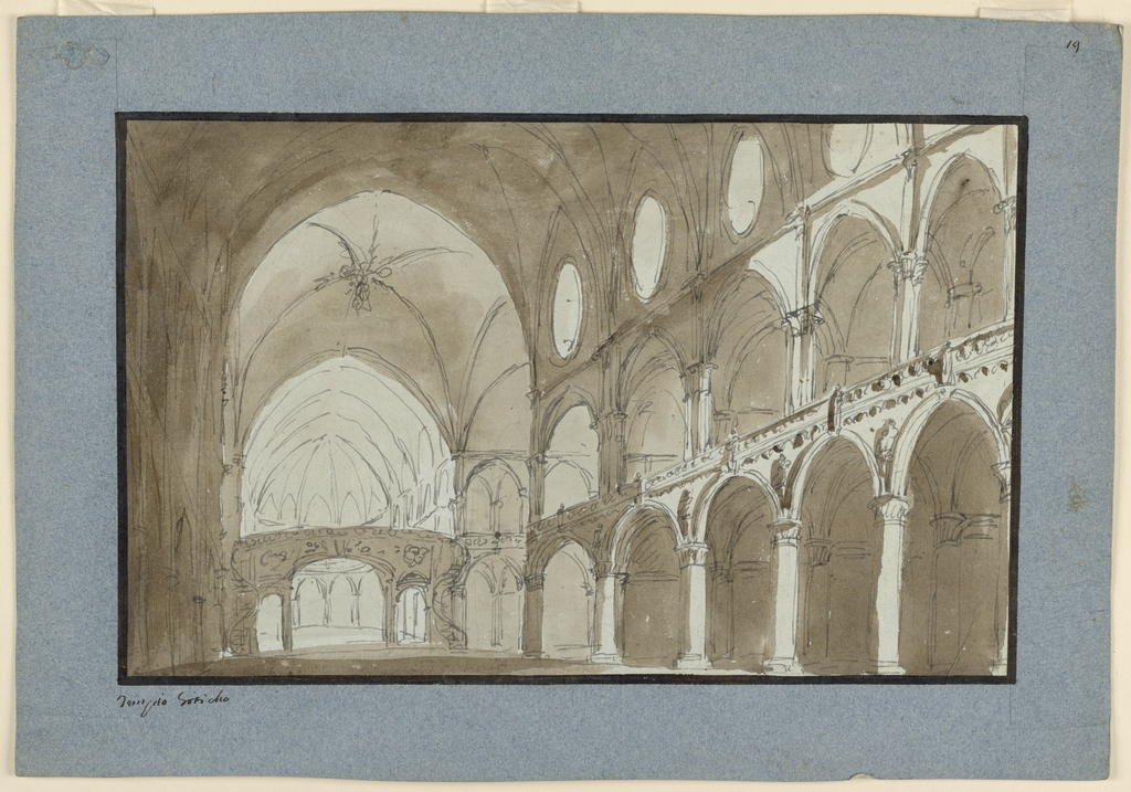 Interior of nave of Gothic church opening toward apses at right side toward choir in the back.
