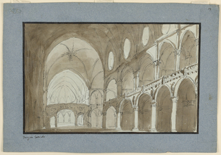 Horizontal rectangle: interior of nave of Gothic church opening toward apses at right side toward choir in the back.