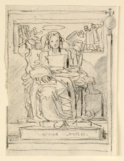 The Virgin and Child enthroned with figures above.