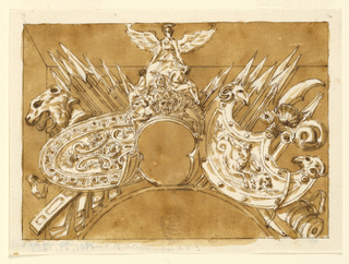 Horizontal rectangle showing a design for a military trophy. At center, a helmet with the winged figure of Victory and captives. Below are two large shields, clusters of spears and instruments. At left, a lion's head. At right, ram heads.