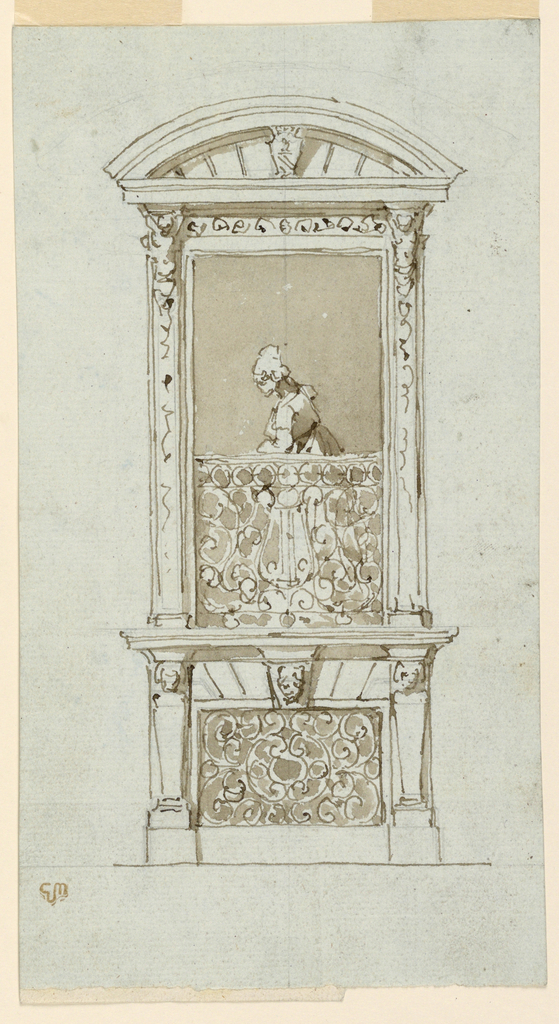 A ground floor window is framed by a central console, a herm supported entablature, and half-figure supported pediment. In the center of the pediment is an indistinct coat-of-arms. The lower part of the window is closed by a railing. The main frieze of which represents a lyre framed by scrolls. A women, in profile, leans upon the railing.