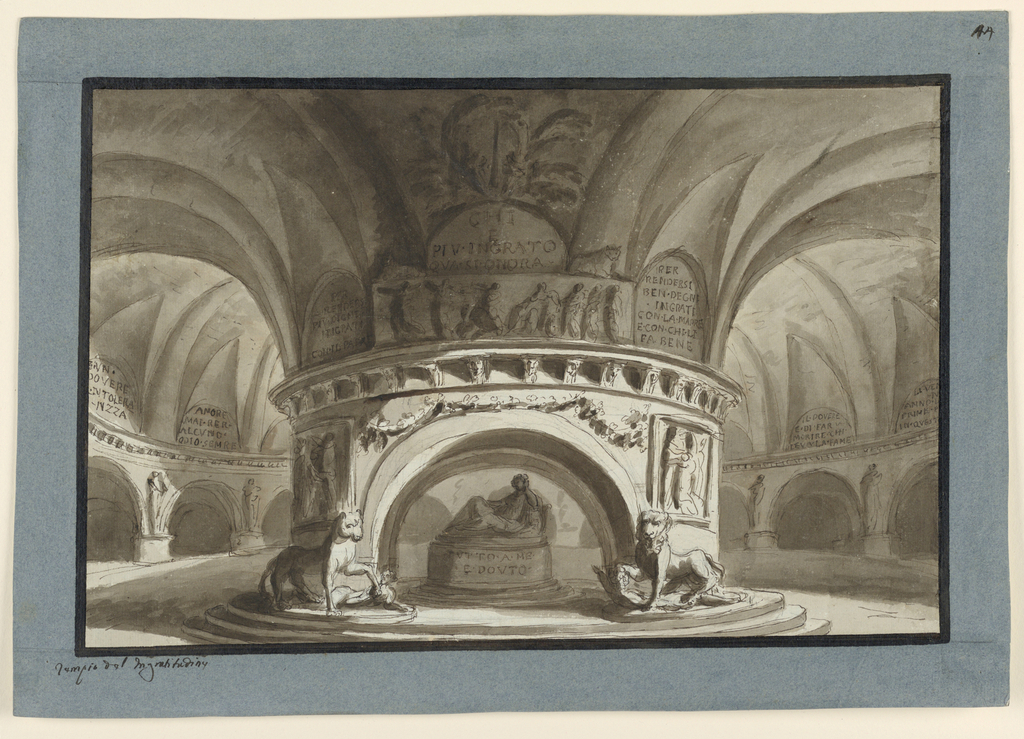 Horizontal rectangle: circular subterranean vaulted hall, huge supporting column in the middle in the centre of which a kind of altar with temple statue lying on it.