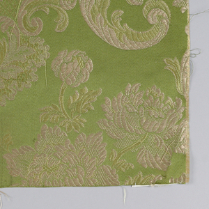 a: green ground with off-white and lighter floral b: tan gound with green and gold color floral