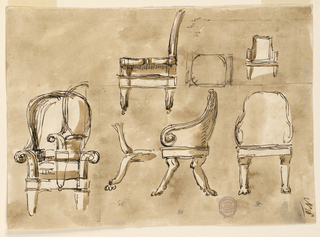 Below, at left: sketch of an armchair with two different suggestions for the back, and another sketch of the left half of another project drawn over it. At right: an armchair, with the back at right and the legs cut off. Further right: plan of a seat, small sketch of an armchair.
