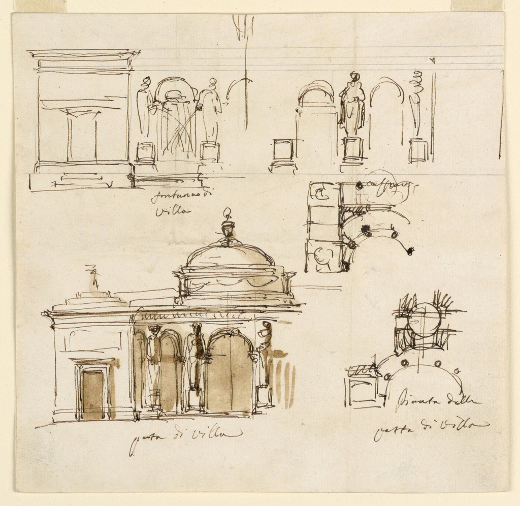 Drawing, Five designs for various structures for a villa, ca. 1790