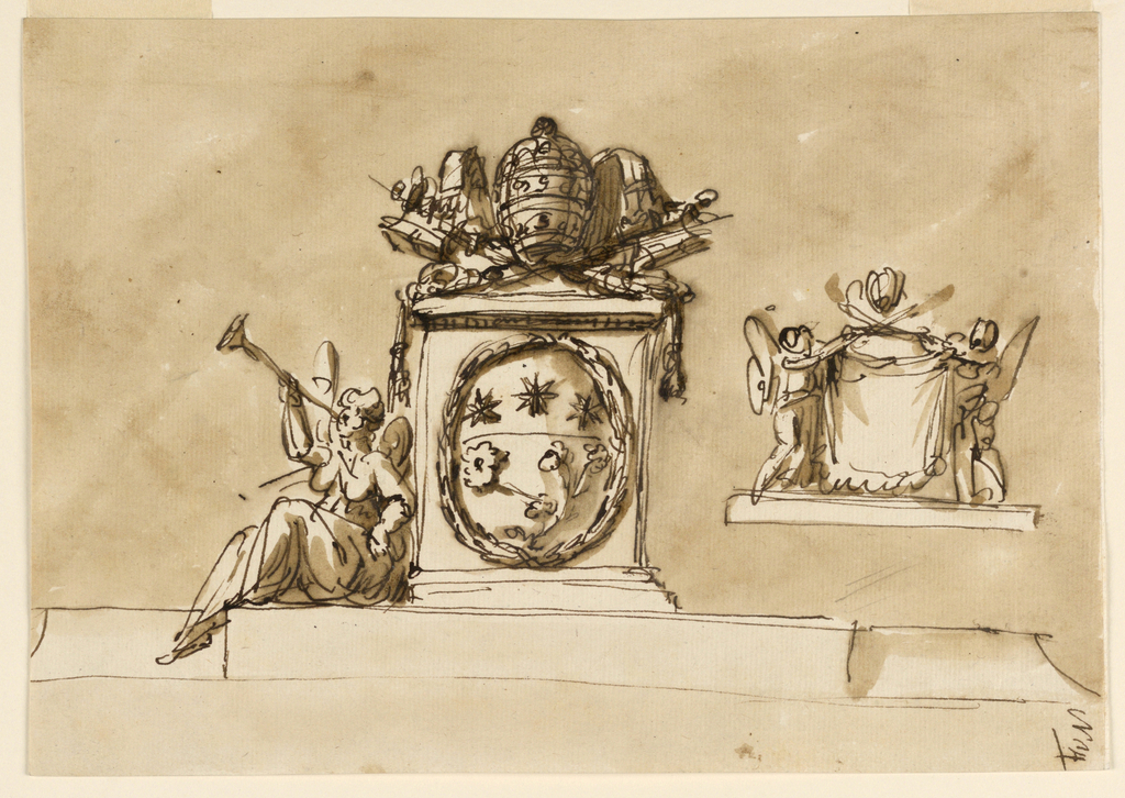 Upon a broad base rises a pedestal in the center, with the coat of arms of the pope in a wreath at the front. On top the keys and the tiara. At left, upon the base, sits a winged female genius, blowing the trumpet. At right is a sketch: two winged figures standing upon a base support a drapery and the two crossed keys. On top the tiara. Usual background.